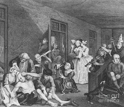 Mental Health Art Photograph - Bedlam By William Hogarth, 1735 by Science Source