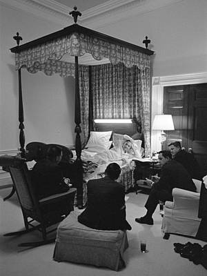Lyndon Photograph - Bedroom Meeting With President Lyndon by Everett