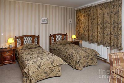 Beds In Hotel Room Art Print by Jaak Nilson