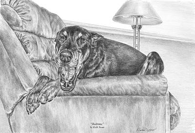 Pinscher Drawing - Bedtime - Doberman Pinscher Dog Art Print by Kelli Swan