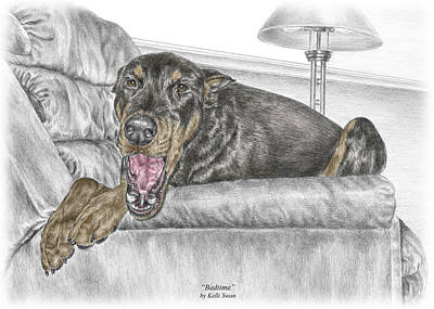 Pinscher Drawing - Bedtime - Doberman Pinscher Dog Print Color Tinted by Kelli Swan