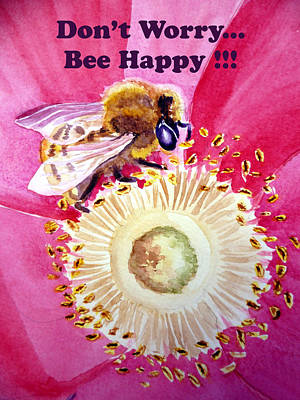 Floral Happiness Painting - Bee Happy  by Irina Sztukowski