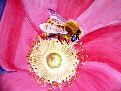 Bee On A Top Print by Irina Sztukowski