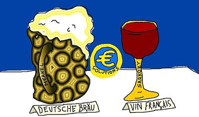 Binary Options News Cartoon Mixed Media - Beer And Wine Try To Save The Euro by OptionsClick BlogArt