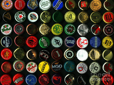 Beer Bottle Cap Photograph - Beer Bottle Caps . 9 To 12 Proportion by Wingsdomain Art and Photography