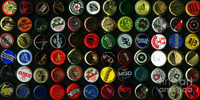 Beer Bottle Cap Photograph - Beer Bottle Caps . 2 To 1 Proportion by Wingsdomain Art and Photography