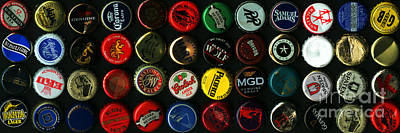 Beer Bottle Caps . 3 To 1 Proportion Print by Wingsdomain Art and Photography