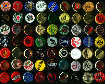 Beer Bottle Cap Photograph - Beer Bottle Caps . 8 To 10 Proportion by Wingsdomain Art and Photography