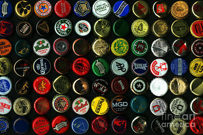 Beer Bottle Cap Photograph - Beer Bottle Caps . 8 To 12 Proportion by Wingsdomain Art and Photography