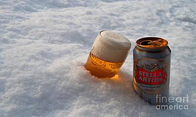 Beer In The Snow Art Print by Rob Hawkins