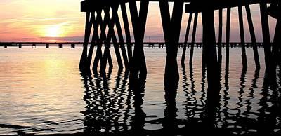 Bridge Pilings Photograph - Beesleys Point Sunset by John Loreaux