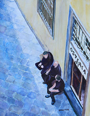 Cobbles Painting - Before The Dinner Rush by Jenny Armitage
