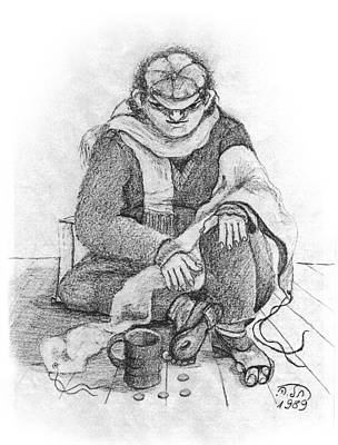 Painting - Beggar 2  In The  Winter Street Sitting On Floor Wearing Worn Out Cloths by Rachel Hershkovitz