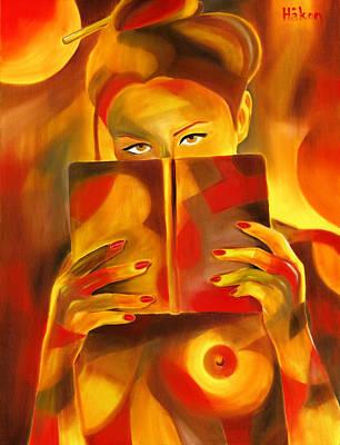 Nude Girl Painting - Behind Her Book by Hakon Soreide