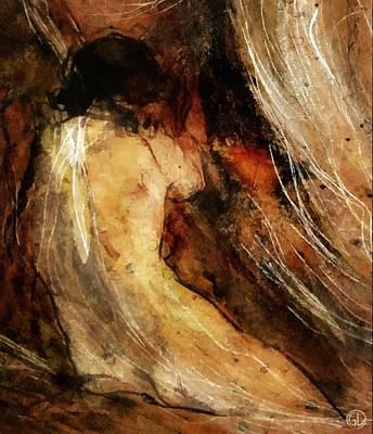 Nudes Digital Art - Behind The Curtain by Gun Legler