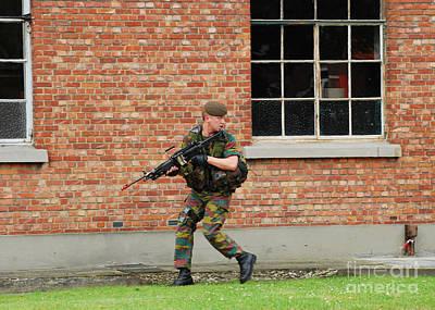 Belgian Infantrists Under Attack Print by Luc De Jaeger