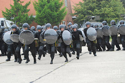 Police Officer Photograph - Belgian Infantry Soldiers Training by Luc De Jaeger