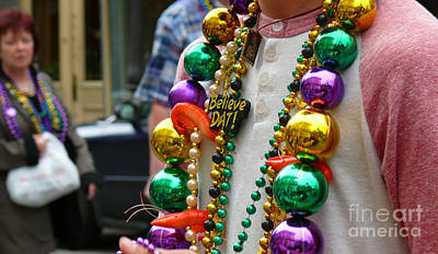 Art Print featuring the photograph Believe Dat Mardi Gras Beads by Jeanne  Woods