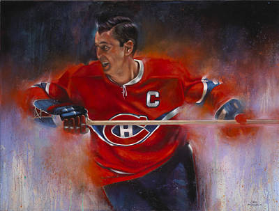 Hockey Painting - Beliveau by Gary McLaughlin