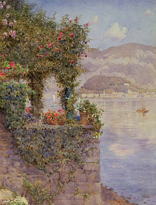 Brick Painting - Bellagio From Tremezzo by Ernest Arthur Rowe