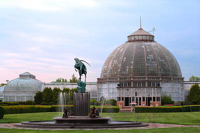 Photograph - Belle Isle Anna Scripps Whitcomb Conservatory And Leaping Gazelle Statue By Marshall Fredericks by Gordon Dean II