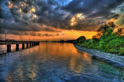 Fox Digital Art - Sunset At Belle Isle Pier Detroit Mi by Nicholas  Grunas