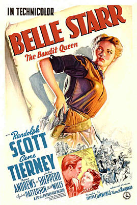 Belle Starr, Gene Tierney, Randolph Art Print