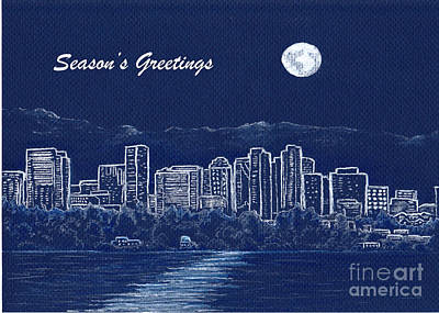 Drawing - Bellevue Skyline Holiday Card by Phyllis Howard