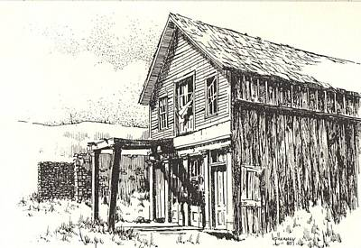 Abandoned Building Drawing - Belmont Ghost Town Nevada by Kevin Heaney