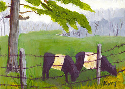 Belted Galloway Cow Painting Rockport Maine Art Print by Keith Webber Jr