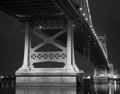 Ben Franklin Bridge Black And White Art Print by Aaron Couture