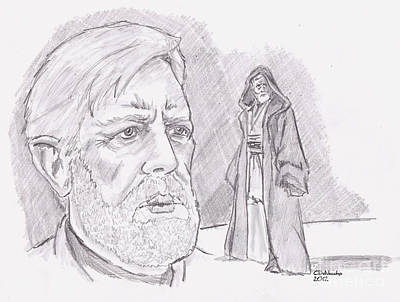 Drawing - Ben Obi Wan Kenobi by Chris  DelVecchio