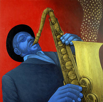 Tenor Painting - Ben Webster by Larry Smart