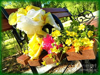 Found Round And About Photograph - Bench And Flowers by Tisha  Clinkenbeard