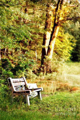 Autumn Scenic Photograph - Bench by HD Connelly