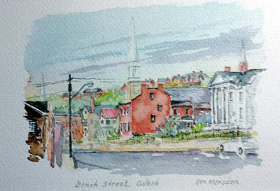 Painting - Bench Street Galena Illinois by Ken Marsden