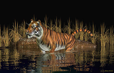 Art Print featuring the digital art Bengal Tiger by Walter Colvin