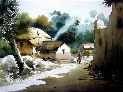 Art Print featuring the painting Bengal Village At Noontime by Samiran Sarkar