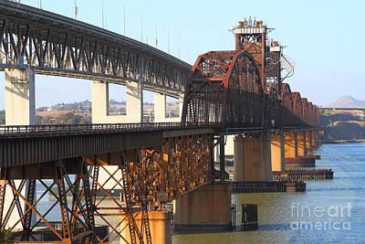 Benicia-martinez Bridges Across The Carquinez Strait In California . 7d10425 Art Print by Wingsdomain Art and Photography