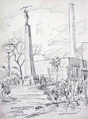 Telephone Poles Drawing - Benjamin Rush Milani Monument by Bill Joseph  Markowski