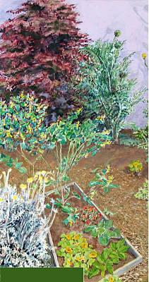 Spinach Painting - Berkeley Garden #2 by Joanna  Katz
