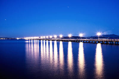 Serene Photograph - Berkeley Pier At Night by Tanya Harrison