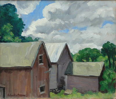 Contemporary Barn Landscape Painting - Berkshire Barns by Thor Wickstrom