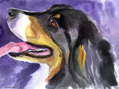 Watercolor Pet Portraits Wall Art - Painting - Berner Portrait by Lyn Cook