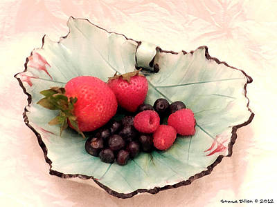 Digital Art - Berries On A Leaf by Grace Dillon