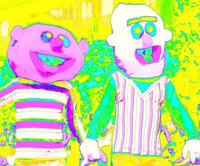 Sesame Street Digital Art - Bert And Ernie Hold Hands by Randall Weidner