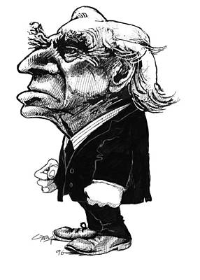 Bertrand Russell, Caricature Art Print by Gary Brown