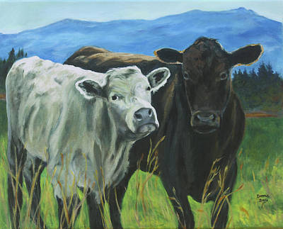 Painting - Best Friends Ivory And Ebony by Donna Drake