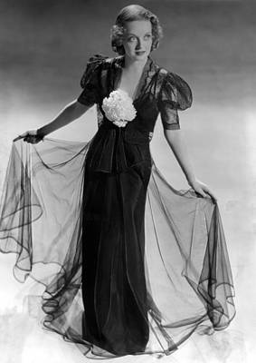 Bette Davis Wearing Black Taffeta Gown Print by Everett