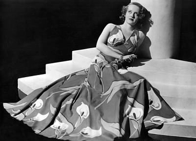 Bette Davis Wearing Gown With Calla Print by Everett